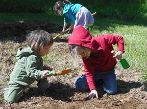 Children Gardening at Divinum Auxilium Academy Garden